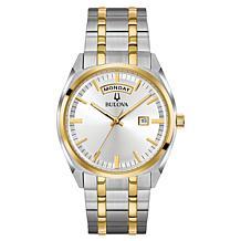 "Bulova ""Classic"" Two-Tone Stainless Steel Men's Diamond Bracelet Watch"