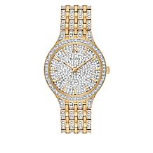 Bulova Goldtone Stainless Steel Women's Round Pavé Bracelet Watch