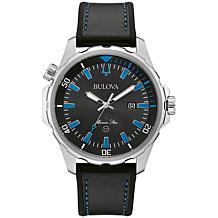 """Bulova """"Marine Star"""" Stainless Steel Men's Black Silicone Strap Watch"""