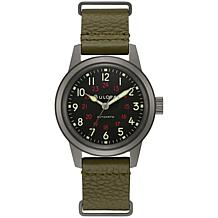 Bulova Men's Green Leather Military Style Automatic Watch