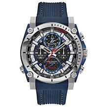 "Bulova ""Precisionist"" Silvertone Men's Blue Strap Chronograph Watch"