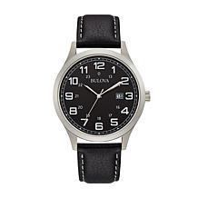 Bulova Silvertone Men's Classic Black Leather Strap Watch