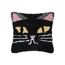 C&F Home Spooky Cat Face Hooked Pillow