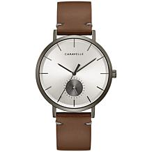Caravelle by Bulova Men's Silvertone Dial Brown Leather Strap Watch