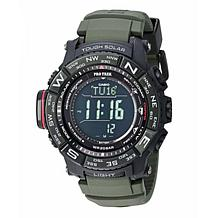 Casio Pro Trek Men's Triple Sensor Atomic Solar Watch - Green Silicone