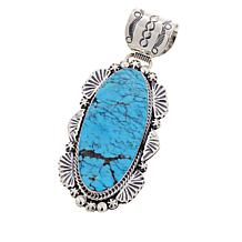 Chaco Canyon Elongated Oval Kingman Turquoise Pendant