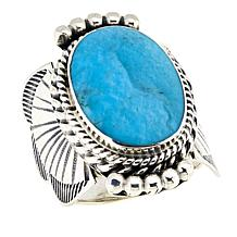 Chaco Canyon Kingman Turquoise Oval Sterling Silver Unisex Ring
