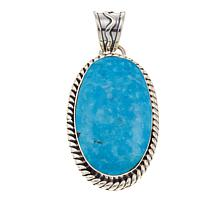 Chaco Canyon Kingman Turquoise Scrolled-Edge Oval Pendant