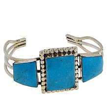 Chaco Canyon Sterling Silver Blue Kingman Turquoise 3-Stone Cuff