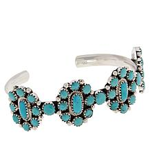 Chaco Canyon Sterling Silver Kingman Turquoise Multi-Stone Cuff