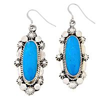 Chaco Canyon Sterling Silver Oval Turquoise Drop Earrings