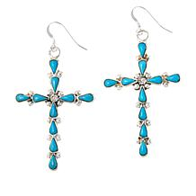 Chaco Canyon Zuni Kingman Turquoise Cross Drop Earrings