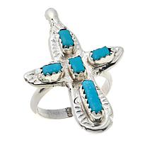 Chaco Canyon Zuni Sleeping Beauty Turquoise Cross Ring