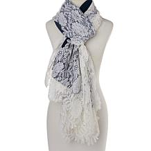 Clever Carriage Handcrafted Ombre Scarf with Lace Applique