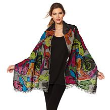 Clever Carriage Jacquard Embroidered Wrap