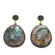 Collections by Joya Labradorite Earrings with Black Diamond Shards