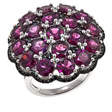 """Colleen Lopez 11.06ctw Purple Garnet and Black Spinel """"Floral"""" Ring"""
