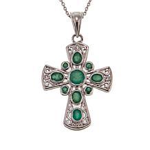 Colleen Lopez 1.23ctw Sakota Emerald and Zircon Cross Pendant w/Chain