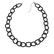 Colleen Lopez Black Spinel Link Necklace with Magnetic Clasp