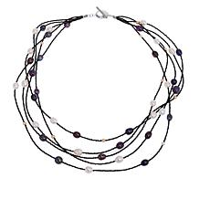 Colleen Lopez Black Spinel and Cultured Pearl Multi-Strand Necklace