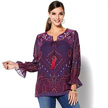 Colleen Lopez Border-Print Blouse