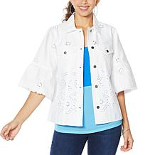 Colleen Lopez Embroidered Eyelet Shirt Jacket
