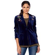 Colleen Lopez Embroidered Velvet Blazer