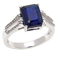 Colleen Lopez Emerald-Cut Sapphire & White Zircon Ring