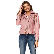 Colleen Lopez Fabulous Floral Embroidered Faux Leather Jacket