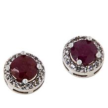 Colleen Lopez Gemstone and White Topaz Halo Stud Earrings
