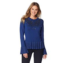 Colleen Lopez Joyfully Jeweled Bell-Sleeve Sweater