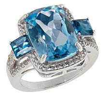 Colleen Lopez Sterling Silver Sky Blue and London Blue Topaz Ring