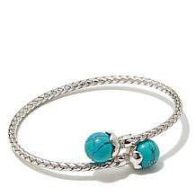 Colleen Lopez Turquoise & CZ Sterling Silver Flex Cuff
