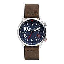 """Columbia """"Outbacker"""" Men's Blue Dial Saddle Leather  Strap Watch"""