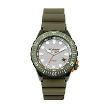 """Columbia """"Pacific Outlander"""" Men's Olive Silicone Strap Watch"""