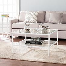 Cortada Square Metal/Glass Open-Shelf Table - White