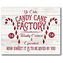"Courtside Market Candy Cane Factory 10.5"" x 14"" Wood Art"