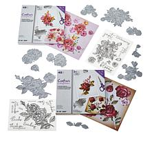 Crafter's Companion Floral Decoupage Toppers, Stamps and Die Set