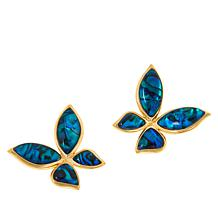 Cristina Sabatini Gold-Tone Gemstone Mini Butterfly Earrings