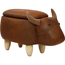 "Critter Sitters 15"" Plush Animal Storage Ottoman - Bull"