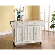 Natural Wood Top Kitchen Cart