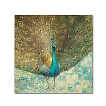 "Danhui Nai ""Teal Peacock on Gold"" Canvas Art"