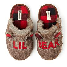 Dearfoams Kid's Furry Lil Bear Scuff Slipper