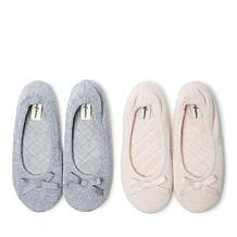 Dearfoams Women's Layla Chenille Ballerina Slipper 2-Pack