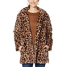 Democracy Animal Patterned Faux Fur Coat