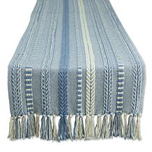 "Design Imports 15"" x 108"" Braided Stripe Fringed Table Runner"