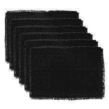 Design Imports Jute/Burlap Solid Placemats Set of 6 in Black