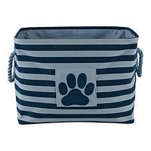Design Imports Polyester Pet Bin Stripe Paw Patch Rectangle
