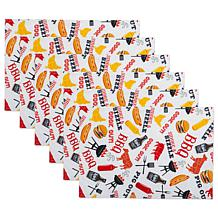 Design Imports Set of 6 BBQ Fun Print Outdoor Placemats