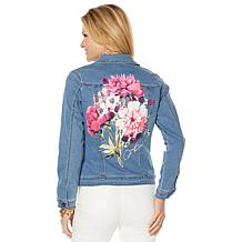DG2 by Diane Gilman Anniversary Printed Denim Jacket